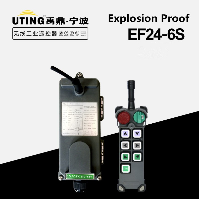 Wholesale EF24-6S Industrial Crane explosion-proof Radio Remote Controller 6 channels single speed buttond