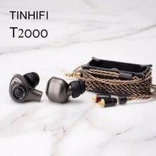 TINHIFI سماعة رأس لاسلكية T2000 مزودة بتقنية البلوتوث 5.0 ، ديناميكية مزدوجة ، HiFi ، داخل الأذن ، 3.5 مللي متر ، MMCX ، سماعات رياضية مع ميكروفون