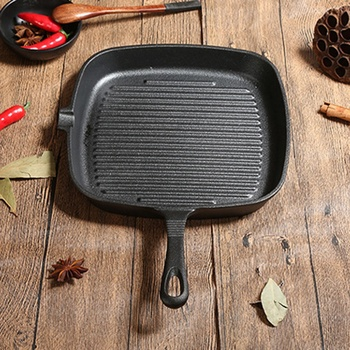 Cast Iron Steak Frying Pan Food Meals Gas Induction Cooker Cooking Pot Kitchen Cookware