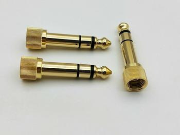 "2pcs brass Gold 1/4"" 6.35mm to 3.5mm plug Stereo Audio Headphone screw"