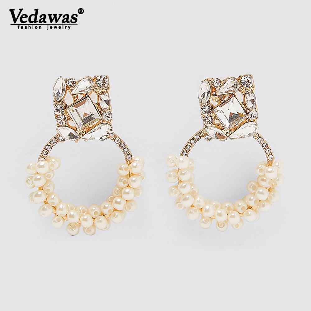 Vedawas ZA Round Drop Dangle Earrings Gold Color Oorbellen Pendientes Shiny Crystal Bijoux Girls Wedding Party Gifts Brincos