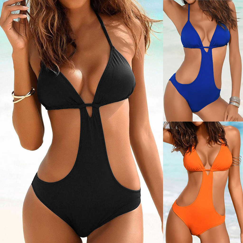 2020 Hot Sexy Women's Bathing Suit Push Up Bandage Padded Jumpsuit Solid Color Halter Lengerie Female Intimates Traje De Baño