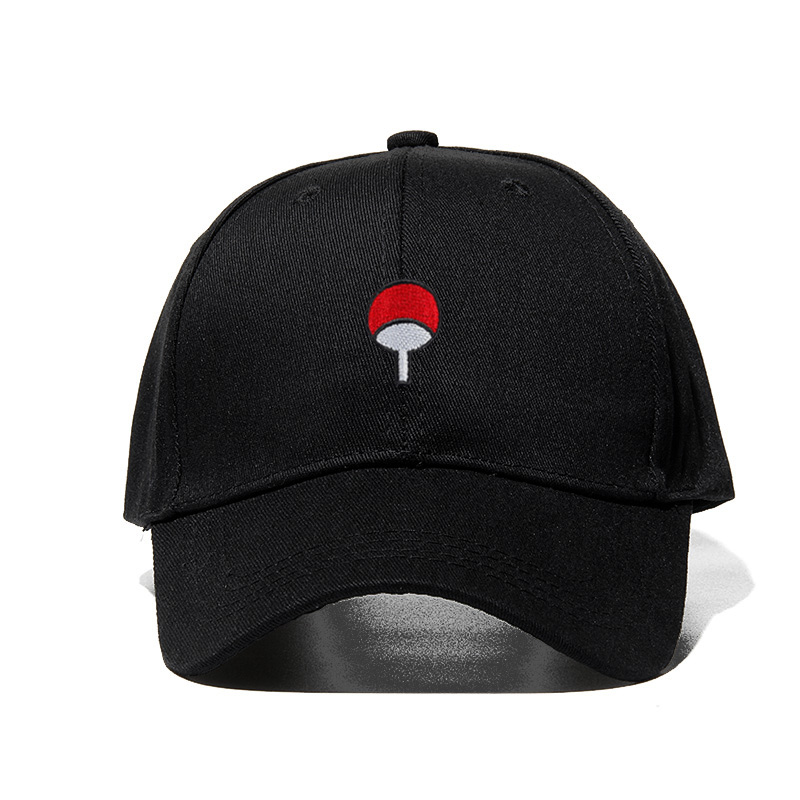 100% Cotton Japanese Anime Naruto Dad Hat Uchiha Family Logo Embroidery Baseball Caps Black Snapback Hat Hip Hop for Women Men