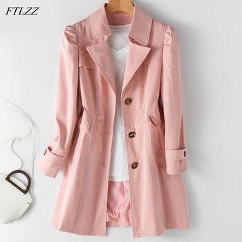 FTLZZ New Autumn Women Khaki Long Trench Coat Casual Female Streetwear Slim Fit Korean Style Windbreaker Single Breasted Outwear 1