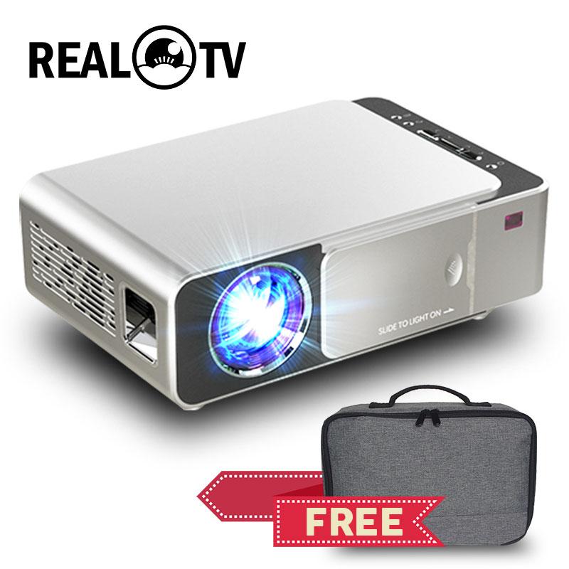 Реальный ТВ T6 Full HD светодиодный проектор 4K 3500 люмен 1080p Портативный кинопроектор видеопроектор HDMI-совместимый USB VGA SD с подарком