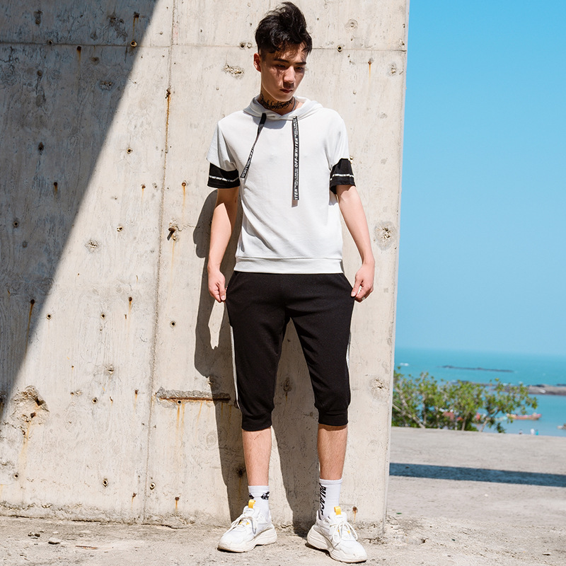 2019 Summer Short-sleeved MEN'S Suit Korean-style Trend Two-Piece Casual Sports Clothing Clothes Men'S Wear