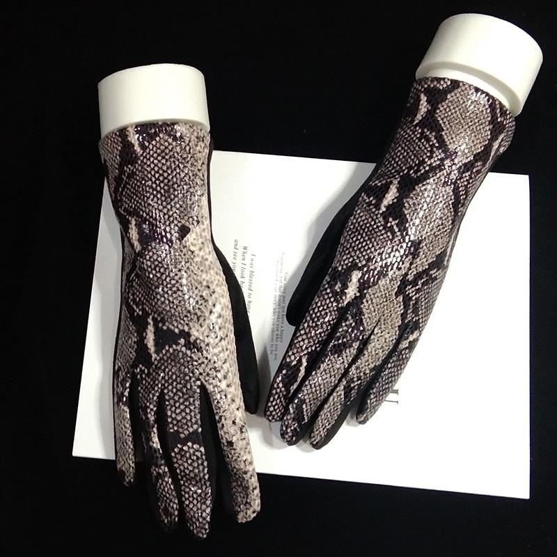 Female Winter Warm Leopard Suede Leather Touch Screen Gloves  Women Sexy Zebra Pattern Cashmere Thicken Driving Gloves H84