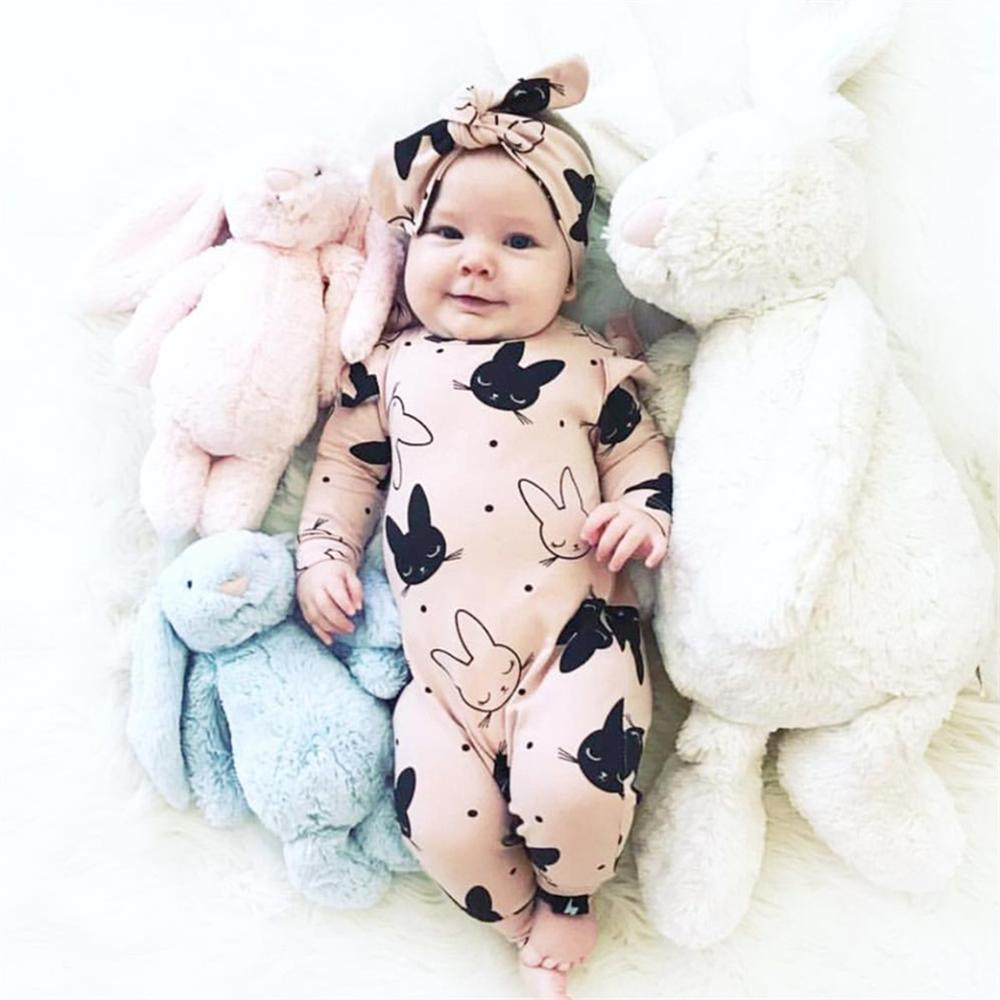 2Pcs Baby Girls Romper Cartoon Rabbit Pattern Cotton Long Sleeve Jumpsuit+Headband Outfits Set Newborn Infant Clothes(China)