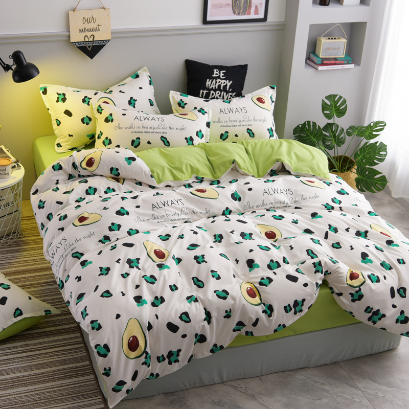 Cow Avocado Bed Linen Set Duvet Cover Green Flat Bed Sheet Pillowcase Bedding Set King Queen Double Full Single Bed
