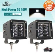 CO LIGHT 9D 80W 자동차 Led 라이트 바 3 인치 작업 빛 홍수 Led 빔 DRL 12V 24V Lada 트랙터 보트 4x4 트럭 SUV ATV 안개 램프