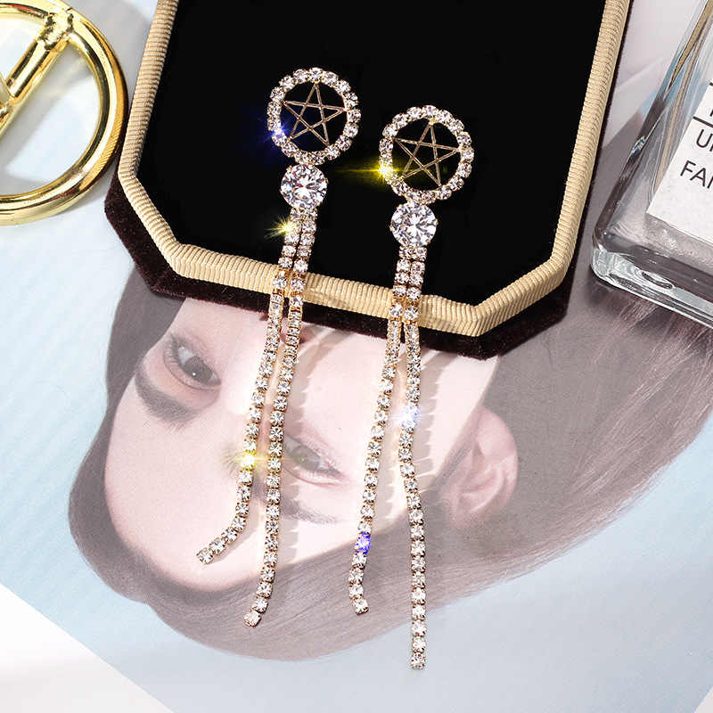 925 silver pin ยาวชุดกระแสเงินสด Tassels ต่างหูบุคลิกภาพแฟชั่นหูเล็บเกาหลีต่างหูต่างหู