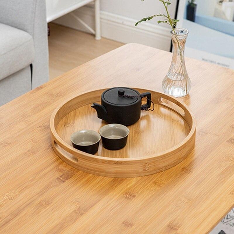 Деревянная круглая сервировочная тарелка, деревянная тарелка для чая, еды, напитков, блюдо для еды, тарелка для ужина, говядины, чая, фруктов, закусок-2