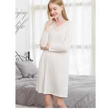 New solid silk knitting nightgown women long sleeves medium