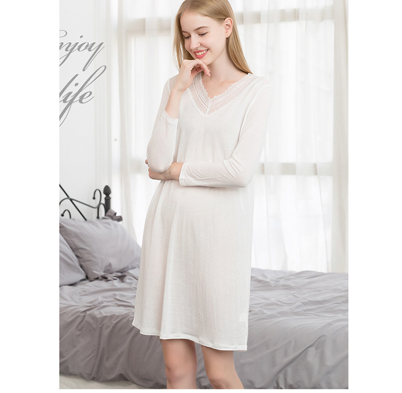 New solid silk knitting nightgown women long sleeves medium length night dress lace v-neck loose dressing gown female