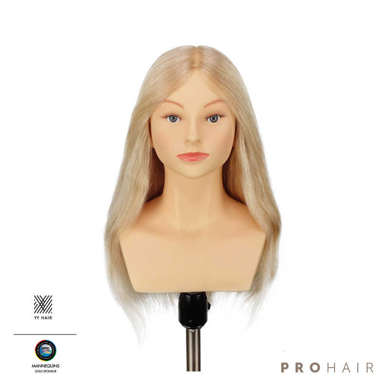 PROHAIR OMC Approved 50CM 20'' 100% Human Hair Light Blond Competition Mannequin Head Hairdressing Mannequin Doll Head