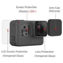 Защитный чехол для экрана из закаленного стекла, защитный чехол с объективом для GoPro Hero 8, 7, Black, 6, 5, комплект аксессуаров для экшн камеры