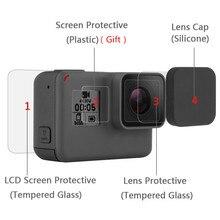 Película de vidro temperado para gopro, hero 8 7 black 6 5 capa protetora de tela de vidro temperado conjunto de acessórios