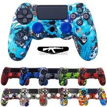 Anti Slip Multicolor Silikon Abdeckung Fall mit 2 Joystick Caps Für Sony PS4 Pro Schlank Spiel Controller