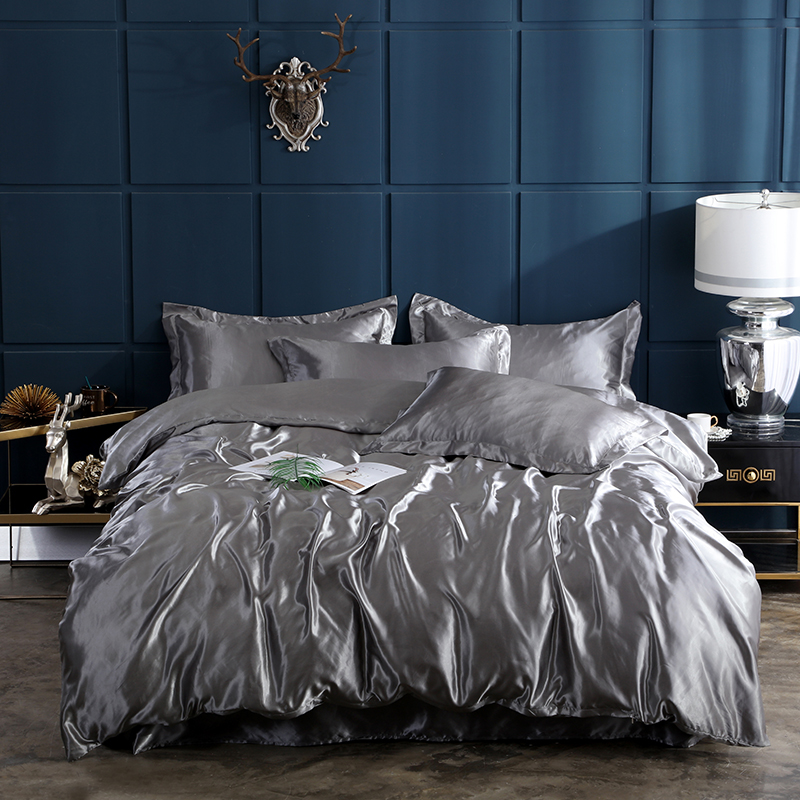 2020 New 100% pure satin silk solid color bedding set Home Textile King size bed set duvet cover flat sheet pillowcases title=