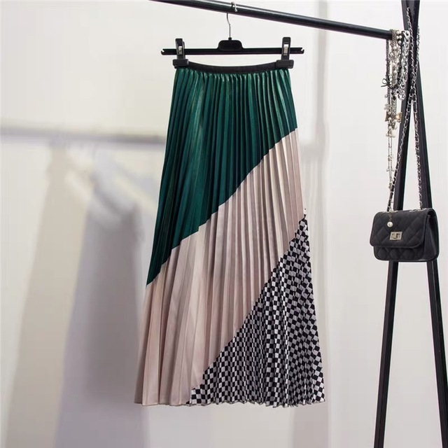 Marwin 2019 Spring New-Coming Europen Color Matching Plaid  Pleated skirt High Street Style Mid-Calf Empire Striped Women Skirts 2