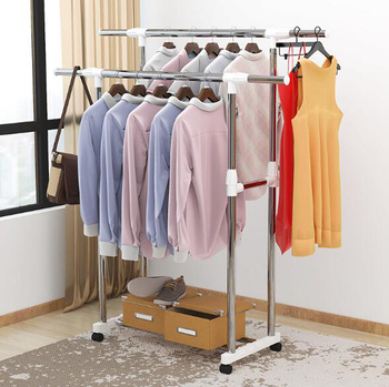 Drying rack floor folding double-pole single-pole Clothing drying rack bedroom hanger clothes rack with wheel height adjustable double deck hanger clothing display rack floor type store hanger iron art island rack clothing gantry rack