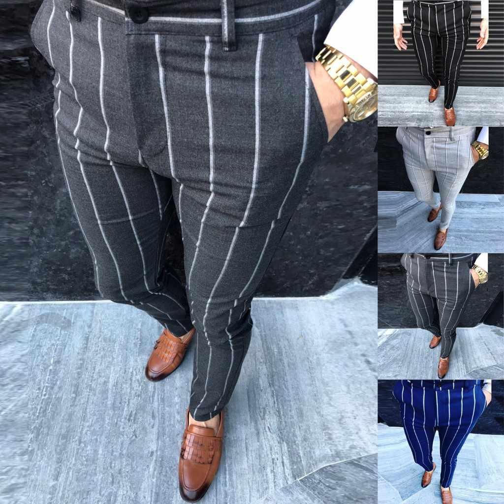 Four Seasons Fashion Men Casual Business Slim Fit Striped Print Zipper Business Long Pants Trousers M0910 Suit Pants Aliexpress