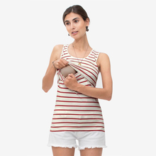 Maternity Vest Women Pregnant Nursing Stripe Breastfeeding Top T-Shirt Womens Summer Patchwork Daily Home Base Clothes