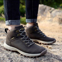 Snow Boots Men Large Size 45-47 Wedges Lace Up Winter Ankle Man Platform Plush Rubber Booties Casual