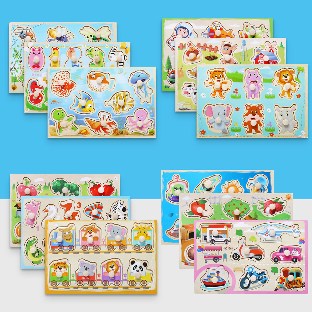 Eco-friendly Wooden Cartoon Animal Alphabet Cognitive Jigsaw Puzzle Children's Puzzle Grasp Board Boy Girl Educational Toy L0120