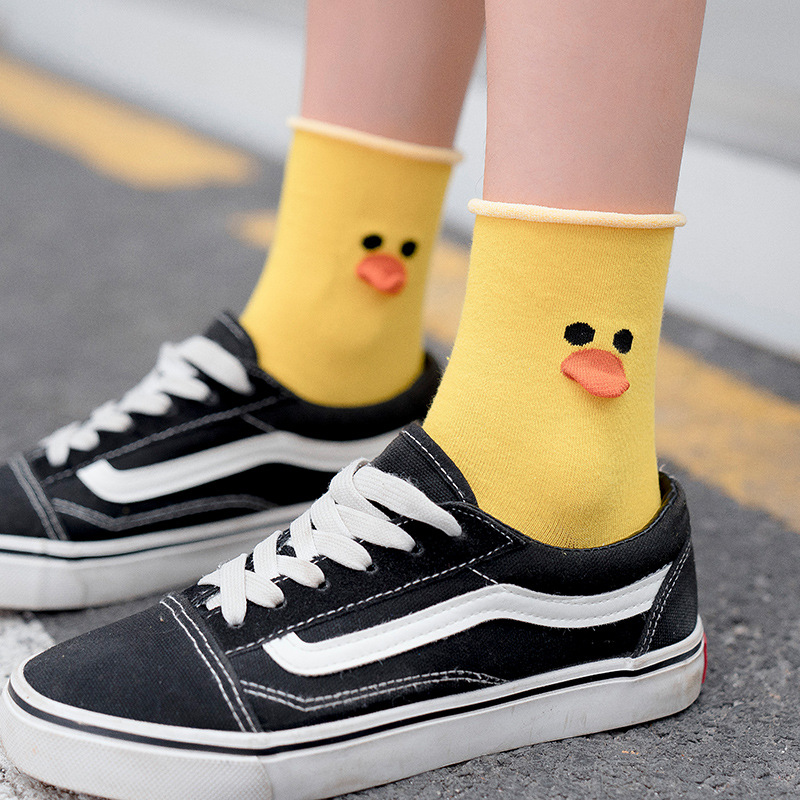 Cartoon Animal Mouth Funny Socks Women Kawaii Duck Bird Style 3D Women Socks Cotton Dropshipping