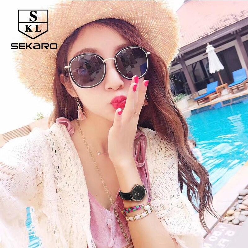 SEKARO 1605 швейцарские часы женские люксовый бренд из натуральной кожи ремешок минималистичный Модный повседневный бизнес платье кварцевые ча... - 2
