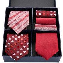 Мужской роскошный красный галстук набор шелковые 3type точка полосатый твердые мужчины 7,5 см подарочная коробка и платок ГЛ-10