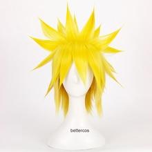 Наруто Namikaze Минато Косплей парик короткий лимон желтый термостойкие синтетические волосы парик+ парик шапка