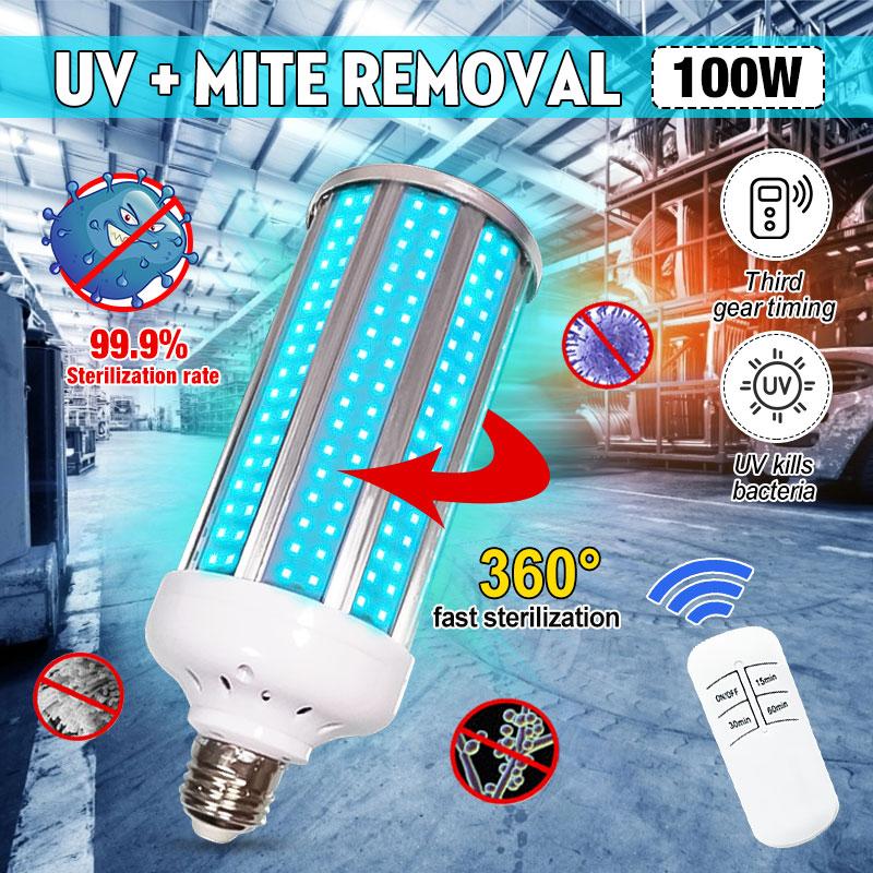 100W UVC LED Bulb E27 UV LED Lamp Desinfection Light LED Corn Bulb Ultraviolet Light Remote Control Timing Sterilization Lamp