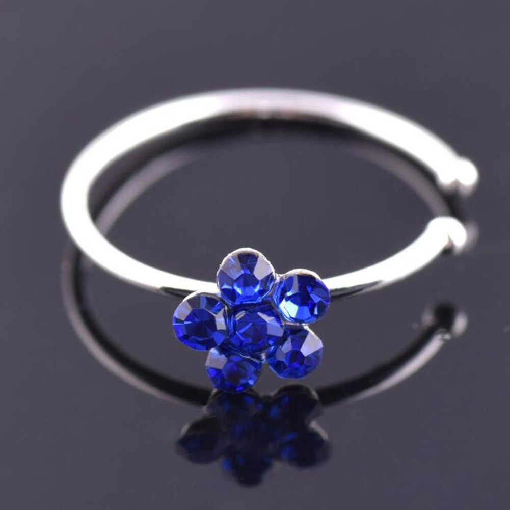 1 Pza Venta de anillos de Nariz de color inoxidable para nariz de ciruela con Clip en el anillo de la nariz Piercing falso joyería para el cuerpo para mujer