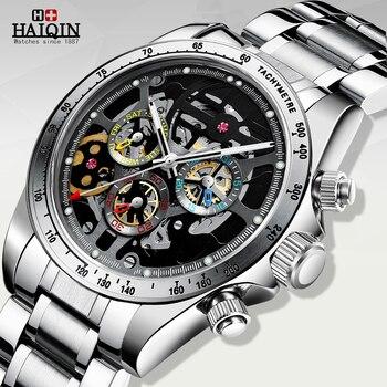HAIQIN Gemstone skeleton watch mens watch automatic top brand luxury watches for men mechanical wristwatch men waterproof 2020