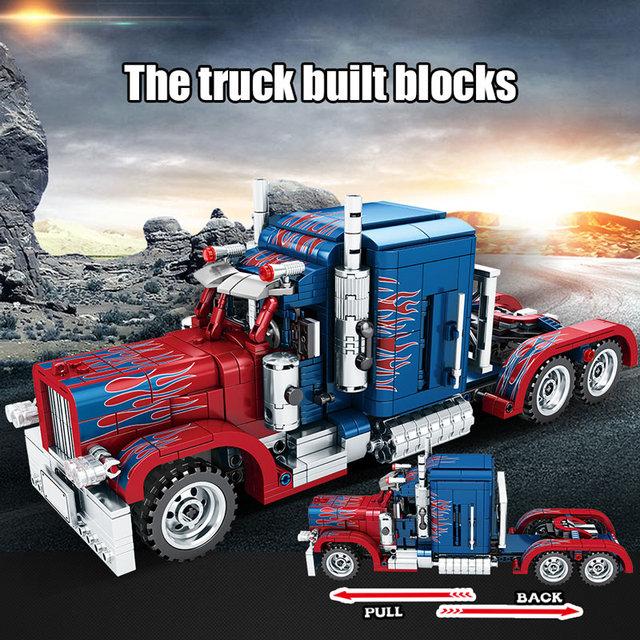 SEMBO 849pcs City Classic Pull Back Car Building Blocks Technic Peterbilt Heavy Container Truck Bricks Toys for Boys