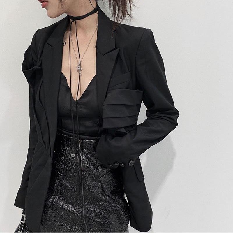 Original Design Asymmetry Women Blazers And Jackets Slim Was Thin Creased Black Suit Streetwear Blazer Feminino GCC3207