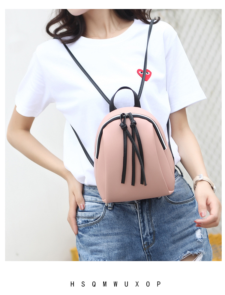 Casual Small Waterproof Backpack Women Solid Color Pu Leather School Bag Simple Mini Zipper Bookbags And Girls Travel Backpacks (9)