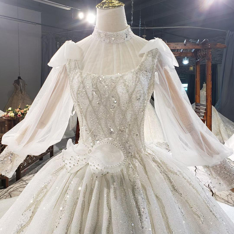 HTL1812 Luxurious Sequined Beading Cloak Wedding Dress 2020 High Neck Long Puff Sleeve Ball Gowns robe femme mariage 5