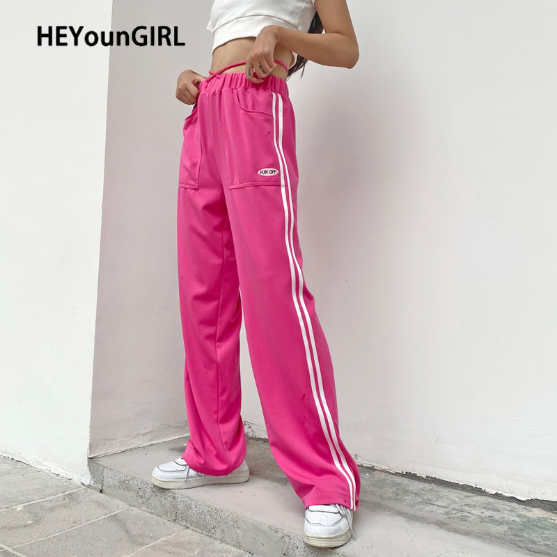 HEYounGIRL Letter Print Ribbens Casual Long Trousers Ladies Pink Baggy Sweatpants Women High Waist Pants Capris High Street 2020