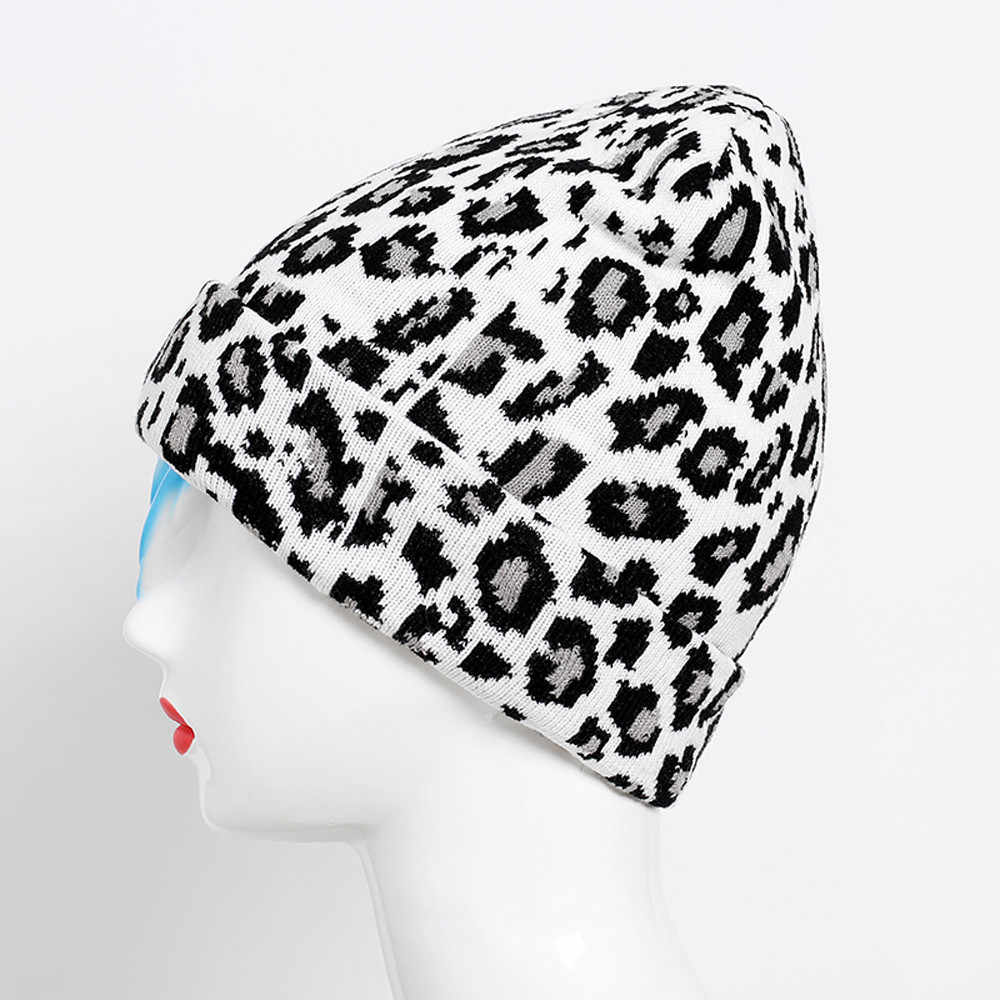 Feitong Fashion Dewasa Wanita Pria Musim Dingin Leopard Crochet Hat Topi Topi Hangat Topi Kualitas Tinggi Dropshipping Beanie Kertas Dinding Hangat Topi