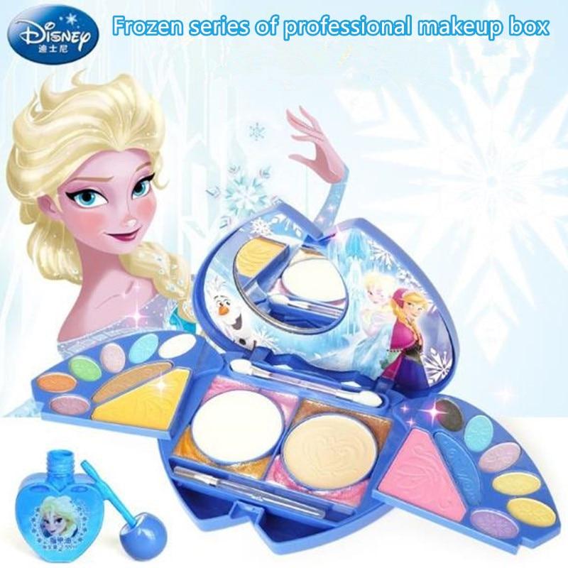 Reine des neiges Disney glace princesse boîte de maquillage Predend jouer vernis à ongles Blush fard à paupières pour enfants cosmétiques cadeau d'anniversaire jouets