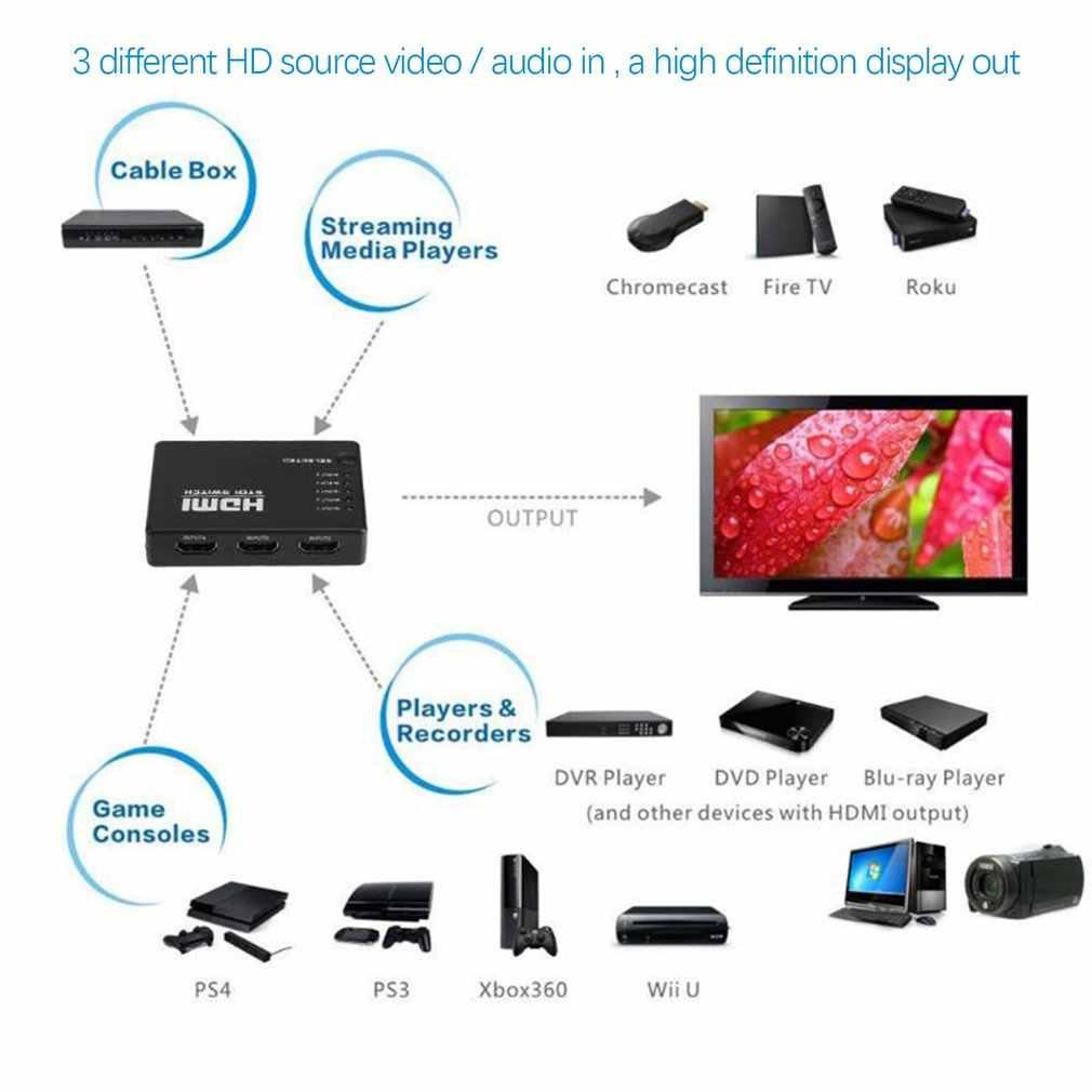 ثلاثية الأبعاد 1080p 5 ميناء 4K HDMI التبديل الجلاد محدد الفاصل المحور IR عن بعد ل HDTV