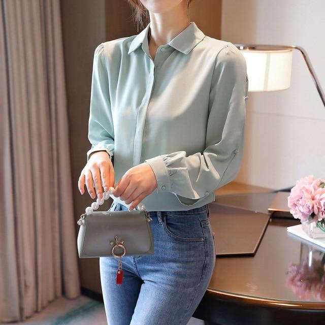 Korean Women Shirts Chiffon Women Blouses Office Lady Long Sleeve Shirts Woman Blouse Tops Plus Size Blusas Mujer De Moda 2020 3