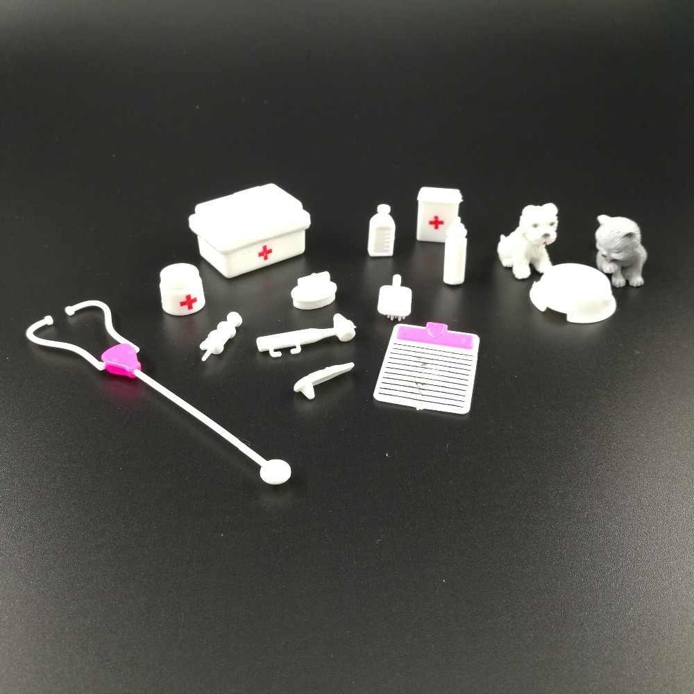 طفل دمية Playset معدات طبية عدة فتاة التظاهر اللعب لعبة لوازم دمية الحيوانات الأليفة لباربي طفل إكسسوارات دمي ديكورات منزلية