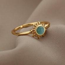 Anel da lua do vintage para as mulheres cor de prata ouro aço inoxidável sol casal anéis acessórios jóias presente melhor amigo bijoux femme