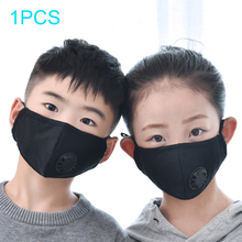 10pcs Child Dust Mask Face Mask Anti Pollution Mask Pm2.5 Activated Carbon Filter Insert Black Breathable Valve Mask Mouth Cover
