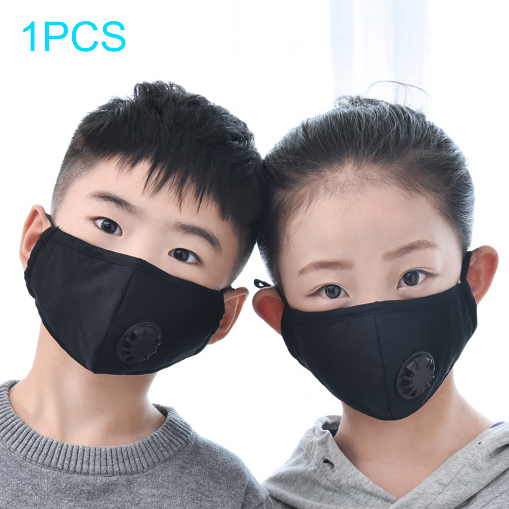 10pcs Child Dust Mask Face Mask Breathable Anti Pollution Mask PM2.5 Activated Carbon Filter Insert Black Valve Mask Mouth Cover