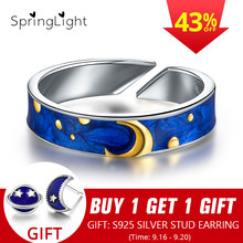 SpringLight Blue Sky Van Gogh Enamel Ring Real 925 Sterling Silver Fine Jewelry 18k Gold Sun Moon Star Couple Rings for Women(China)